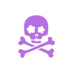 Purple skull - romantic ironic icon.