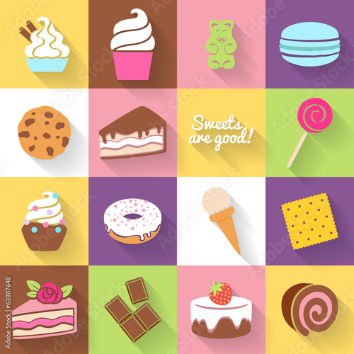 Different sweets icons set in flat style.