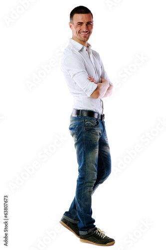 Full length portrait of a casual dressed happy man