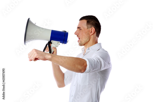 Man shouting through megaphone over white background