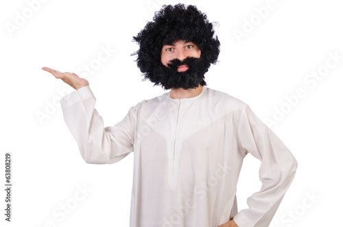 Hairy funny man isolated on the white