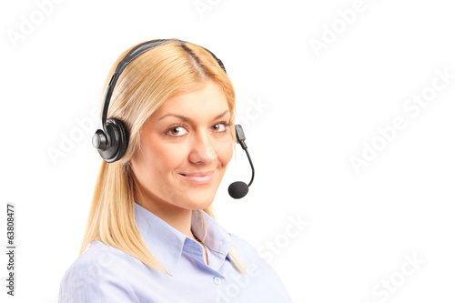 canvas print picture Portrait of a female call service operator