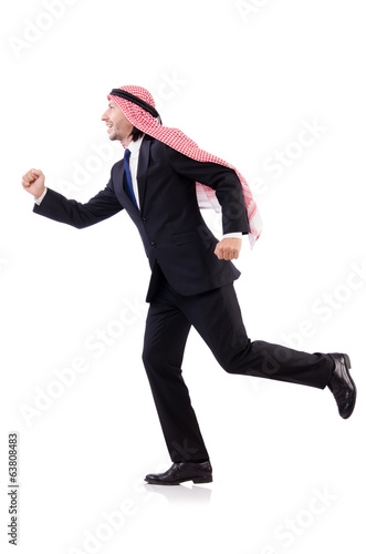 Running arab man isolated on white