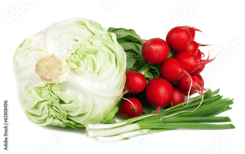 Fresh vegetables on white.