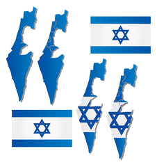 Vector map of Israel filled with flag of the state