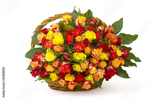 A bouquet of multicolored roses in a basket