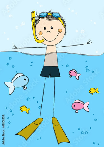 Cute swimming boy on sea background