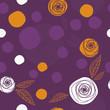 Flowers & circles pattern. White, purple & orange colors.
