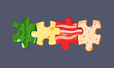 Vector food puzzles