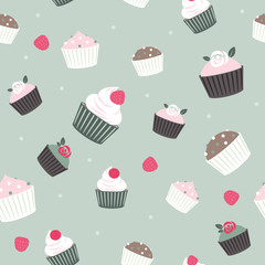 Seamless cupcakes and berries background - pale green color.