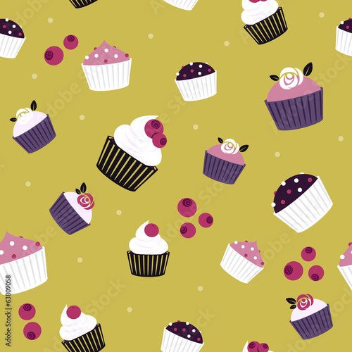 Seamless cupcakes and berries background - ocher color.