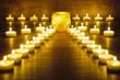 canvas print picture - Garten der Meditation mit Kerzen