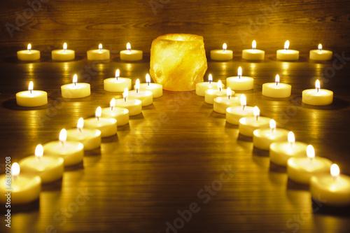 canvas print picture Garten der Meditation mit Kerzen