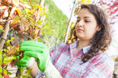 Female Gardener Working