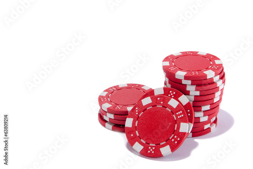 red poker chips isolated close up perspective