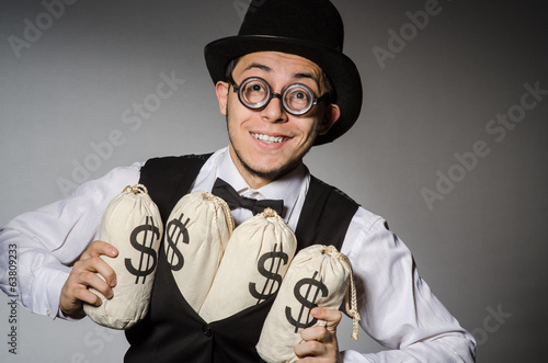 Man with sacks of money