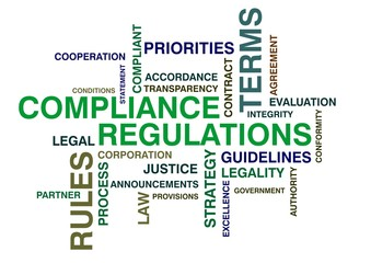 wordcloud for compliance and regulations
