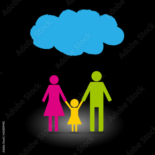 Family icon with rainy cloud on black background.