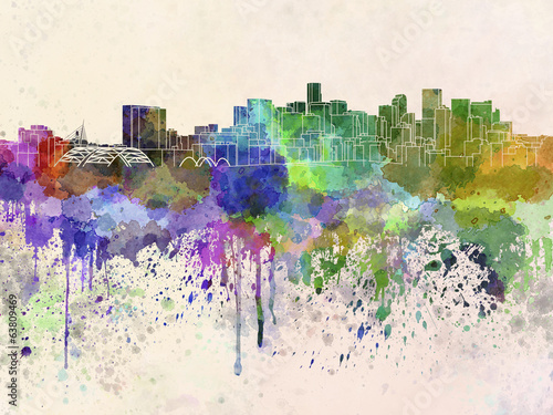 Denver skyline in watercolor background - 63809469