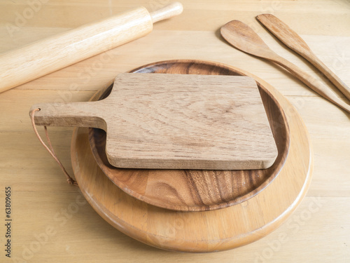 Chopping board and baking utensils