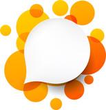 Fototapety White paper label over orange bubbles.