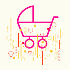Baby carriage on abstract colorful geometric light background