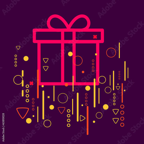 Gift box on abstract colorful geometric dark background with dif