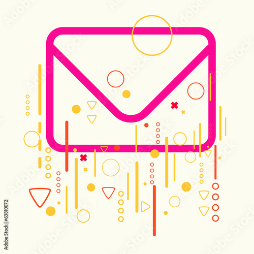 Envelope on abstract colorful geometric light background