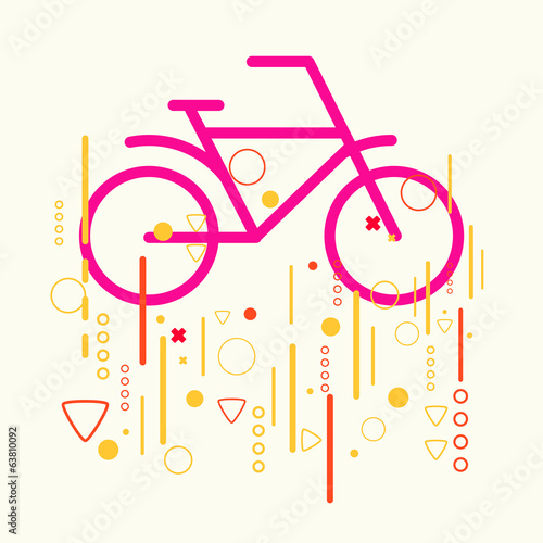 Bicycle on abstract colorful geometric light background