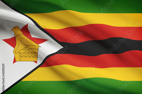 Series of ruffled flags. Republic of Zimbabwe.