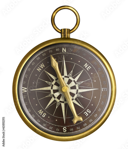 golden or brass old nautical compass illustration