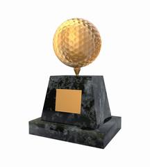 Golden golf ball award prize statuette