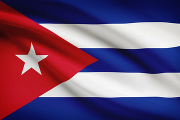 Series of ruffled flags. Republic of Cuba.