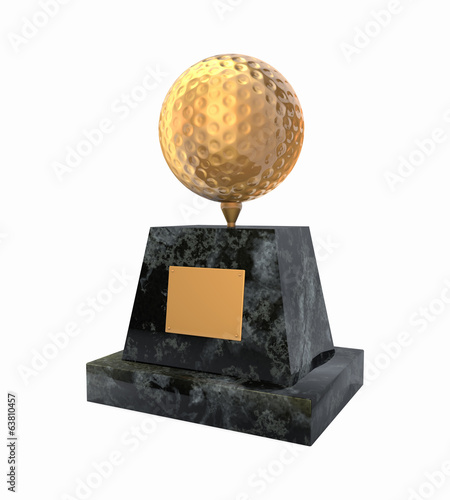 Golden golf ball award prize statuette