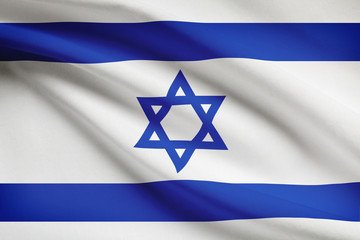 Series of ruffled flags. State of Israel.