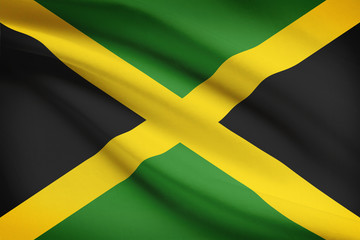 Series of ruffled flags. Jamaica.