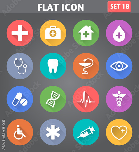 Medical Icons set in flat style with long shadows.