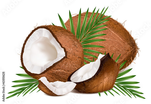 Coconuts with leaves and slice.