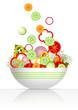 Bowl and fresh vegetables