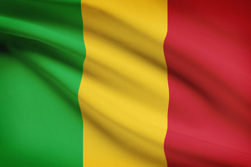 Series of ruffled flags. Republic of Mali.