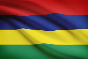 Series of ruffled flags. Republic of Mauritius.