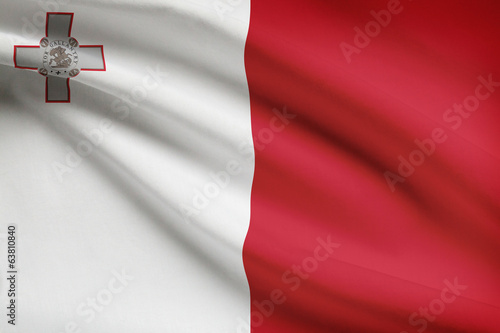 Series of ruffled flags. Republic of Malta.