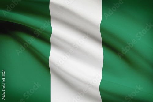 Series of ruffled flags. Federal Republic of Nigeria.