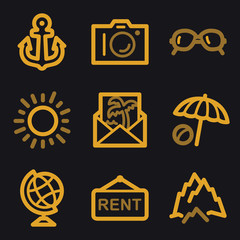 Travel web icons, gold line set