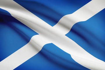Series of ruffled flags. Scotland.