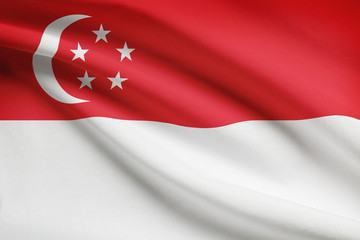 Series of ruffled flags. Republic of Singapore.