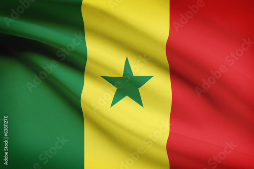 Series of ruffled flags. Republic of Senegal.