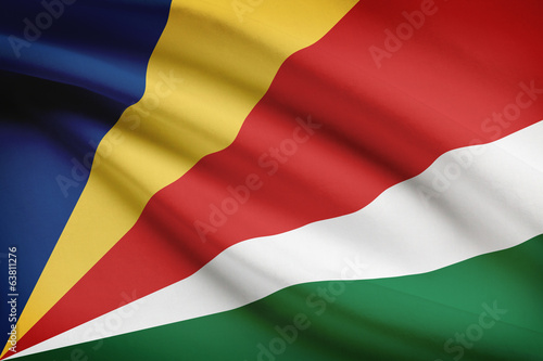 Series of ruffled flags. Republic of Seychelles.