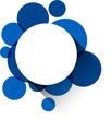 White paper label over blue bubbles.