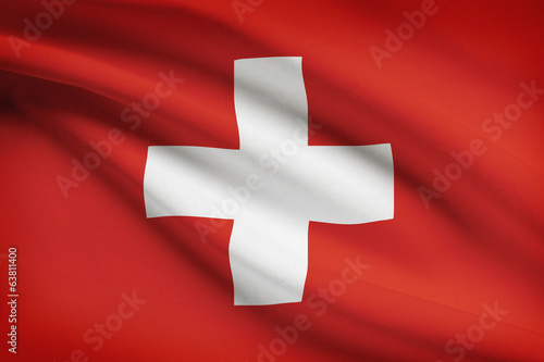 Series of ruffled flags. Swiss Confederation.